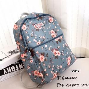 กระเป๋าเป้ผู้หญิง กระเป๋าสะพายหลังแฟชั่น ผ้าแคนวาส พิมพ์ลายดอกสีสันสดใส [สีฟ้า ]
