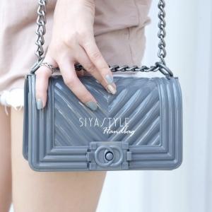 กระเป๋าสะพายแฟชั่น กระเป๋าสะพายข้างผู้หญิง Chanel Boy Toy [สีเทาเข้ม ]