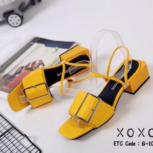 พร้อมส่ง รองเท้าส้นเตี้ยรัดส้นสีเหลือง วัสดุพียู ส้นไม้ แฟชั่นเกาหลี [สีเหลือง ]