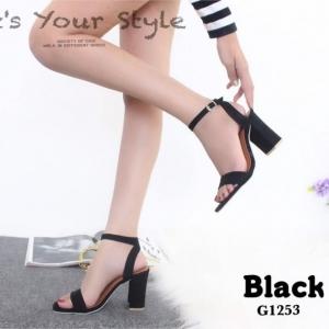 พร้อมส่ง รองเท้าส้นสูงรัดข้อสีดำ ผ้าสักหราด สไตล์ ZARA แฟชั่นเกาหลี [สีดำ ]