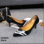 รองเท้าคัทชูหัวแหลม ส้นเข็ม สไตล์สาวออฟฟิศ [สีดำ ]