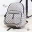 กระเป๋าเป้ผู้หญิง กระเป๋าสะพายหลังแฟชั่น ผ้าทอลาย GC [สีน้ำตาล ] thumbnail 3