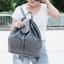กระเป๋าเป้ผู้หญิง กระเป๋าสะพายหลังแฟชั่น หนังพียูเกรดพรีเมี่ยม ลายฉลุ [สีเทา ] thumbnail 2