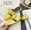 พร้อมส่ง รองเท้าส้นเตี้ยสีเหลือง แต่งหัวเข็มขัด แฟชั่นฮิตมากในเกาหลี แฟชั่นเกาหลี [สีเหลือง ]