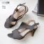รองเท้าส้นสูงสไตล์สีเทา ZARA ฉลุลายกราฟฟิก รัดข้อตะขอ LB-1333-เทา thumbnail 3