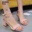 รองเท้าส้นตันรัดส้น เพิ่มสายรัดข้อเท้า [สีชมพู ] thumbnail 1