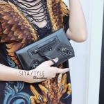 กระเป๋าตัง กระเป๋าเงินผู้หญิง ซิปหน้าสะพายได้ Balencia [สีดำ ]