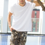 Brown Camo Cargo Shorts for Men - size 38