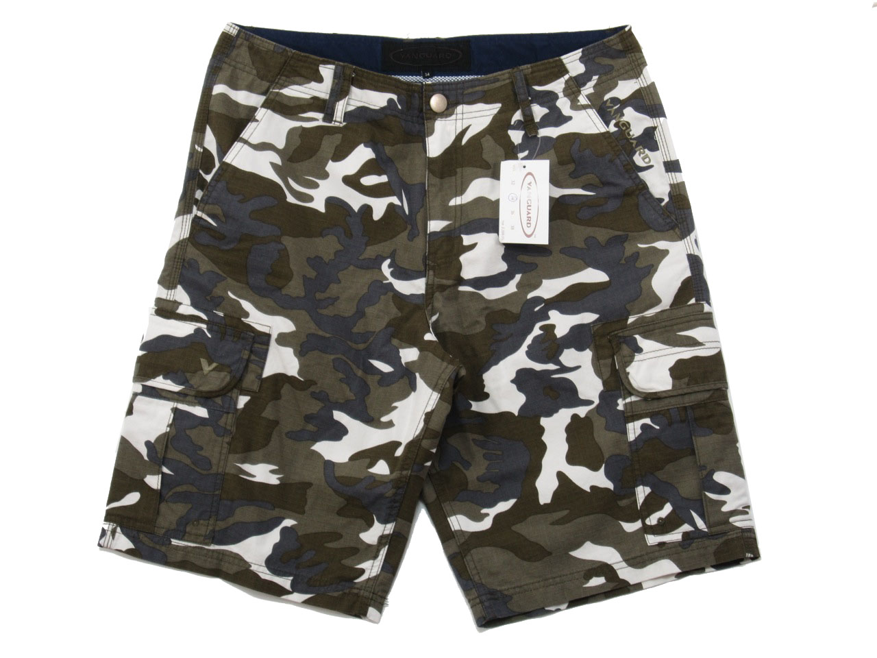 White and Brown Camo Cargo Shorts for Men - size 34