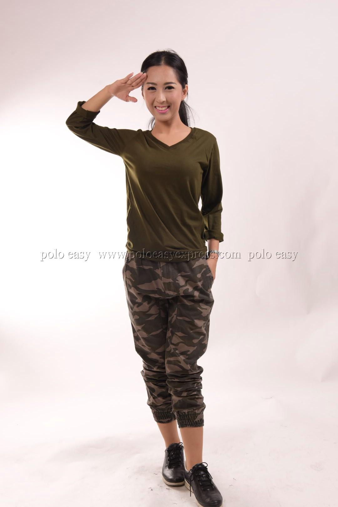 เสื้อยืด สีเขียวขี้ม้า คอวี แขนยาว Size XL สำเนา