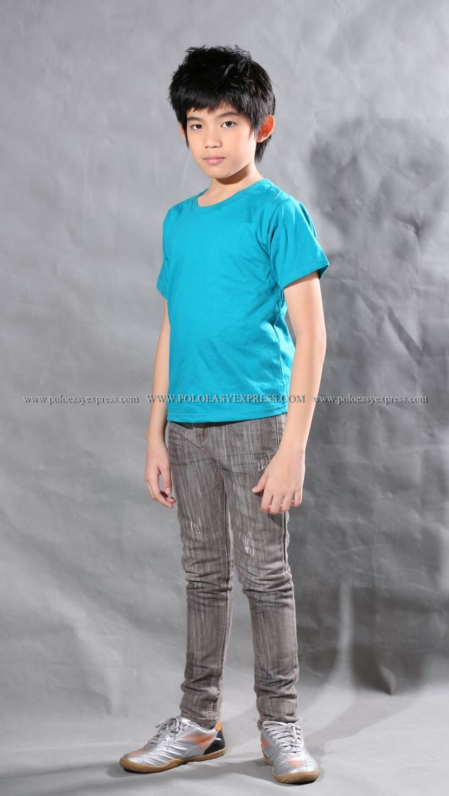 เสื้อยืดเด็ก สีหยก คอกลม แขนสั้น Size S