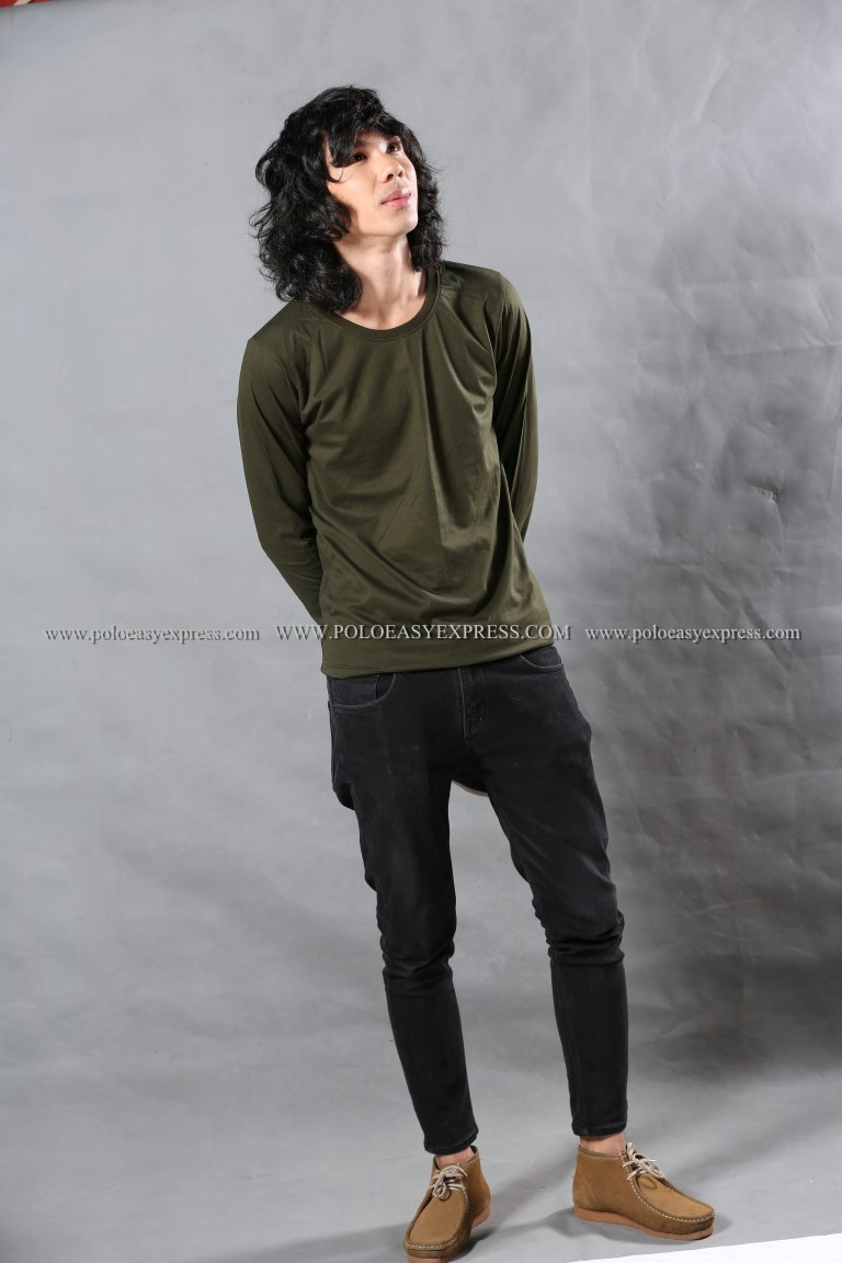 เสื้อยืด สีเขียวขี้ม้า คอกลม แขนยาว Size 2XL สำเนา