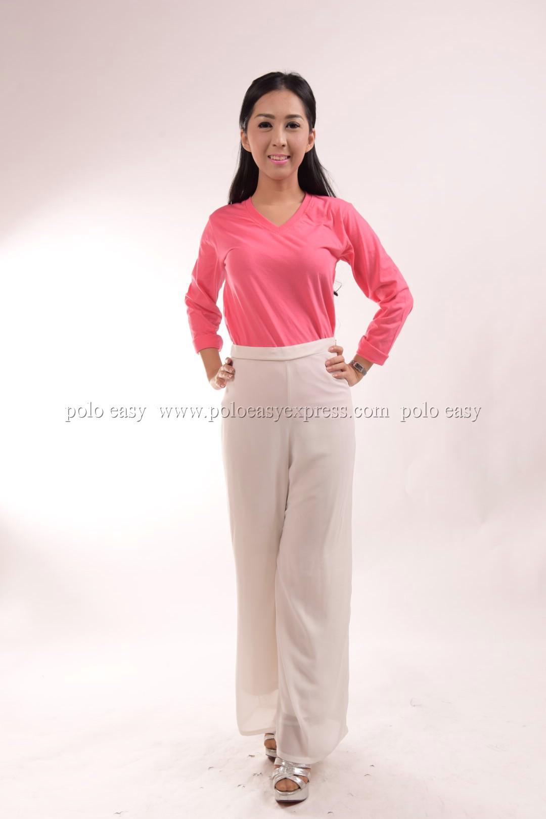 เสื้อยืด สีชมพู Sweety คอวี แขนยาว Size M สำเนา