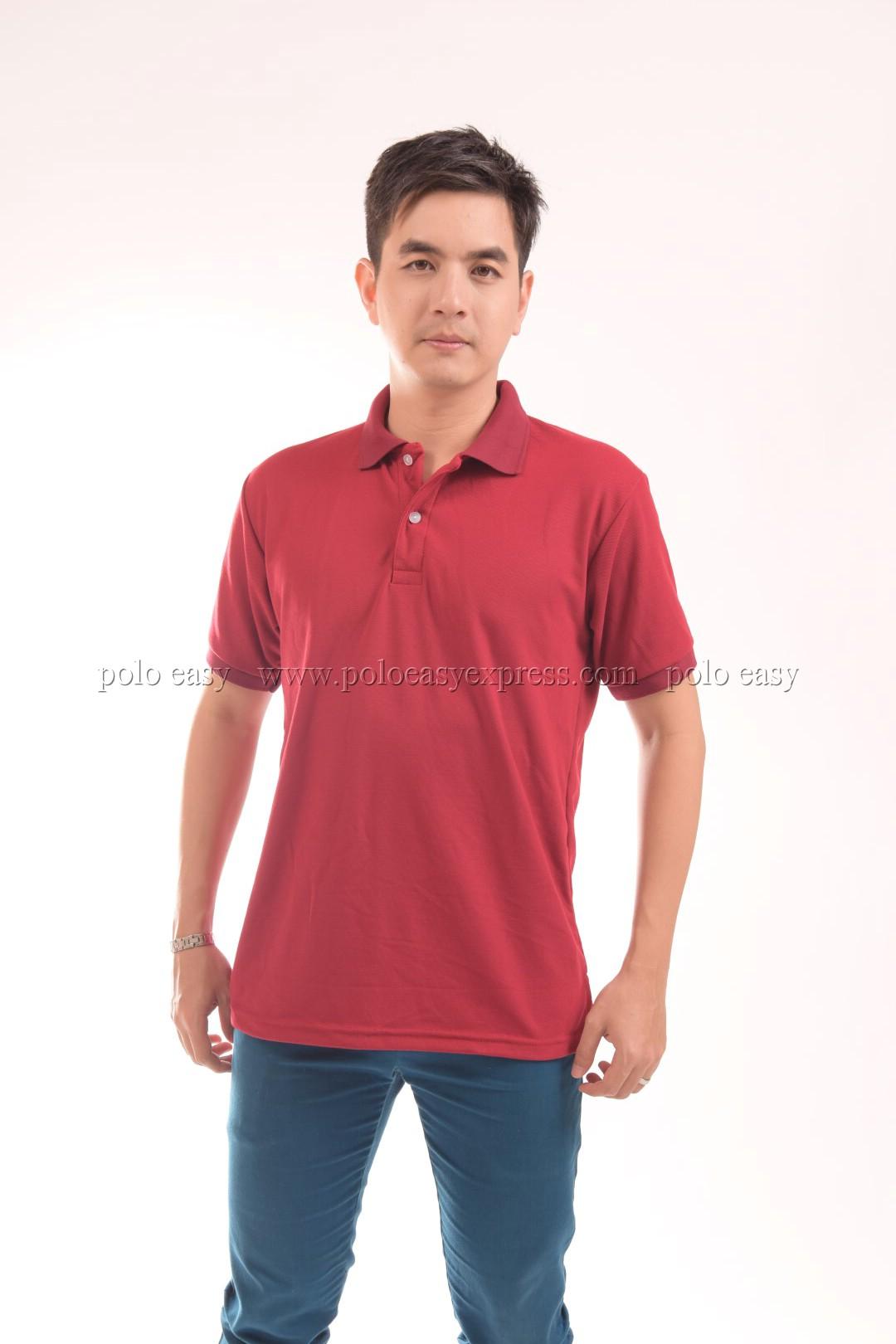 เสื้อโปโล สีเลือดหมู TK Premium แขนสั้น ทรงตรง Size L