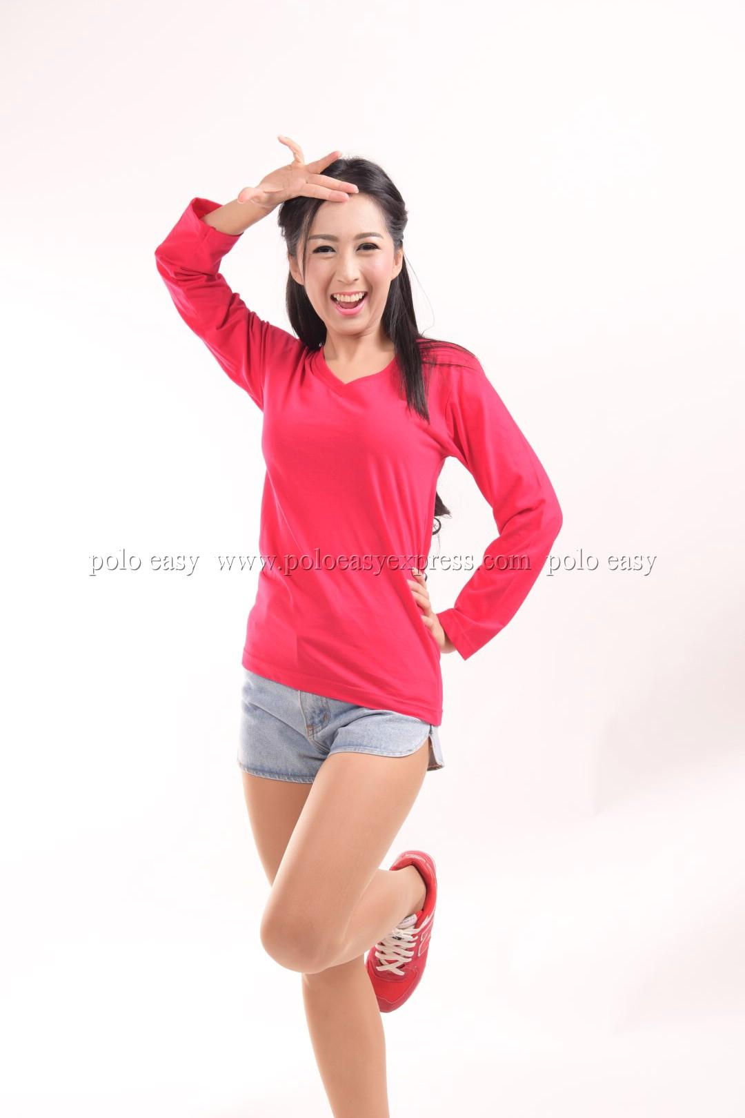 เสื้อยืด สีชมพูบานเย็น คอวี แขนยาว Size S สำเนา