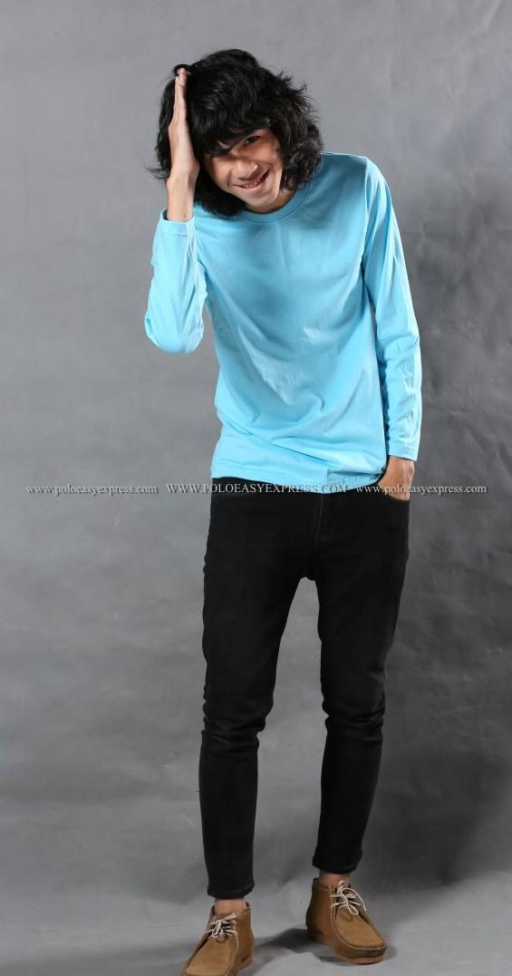 เสื้อยืด สีฟ้าอ่อน คอกลม แขนยาว Size 3XL สำเนา