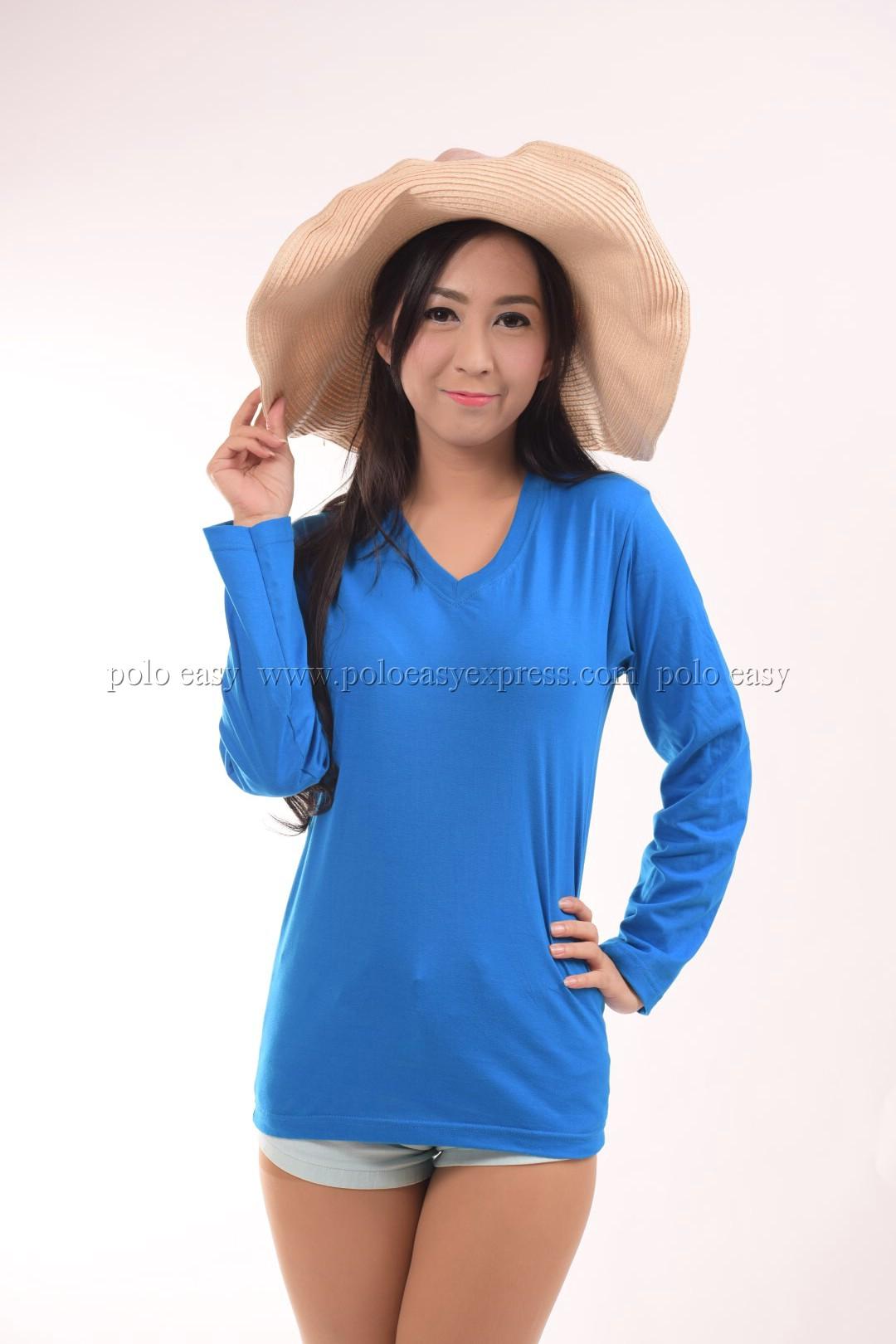 เสื้อยืด สีฟ้าทะเล คอวี แขนยาว Size S