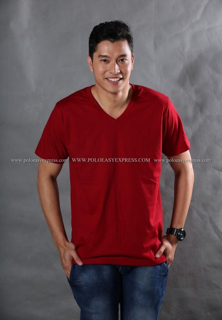 3XL เสื้อยืด สีเลือดหมู คอวี แขนสั้น Size 3XL สำเนา