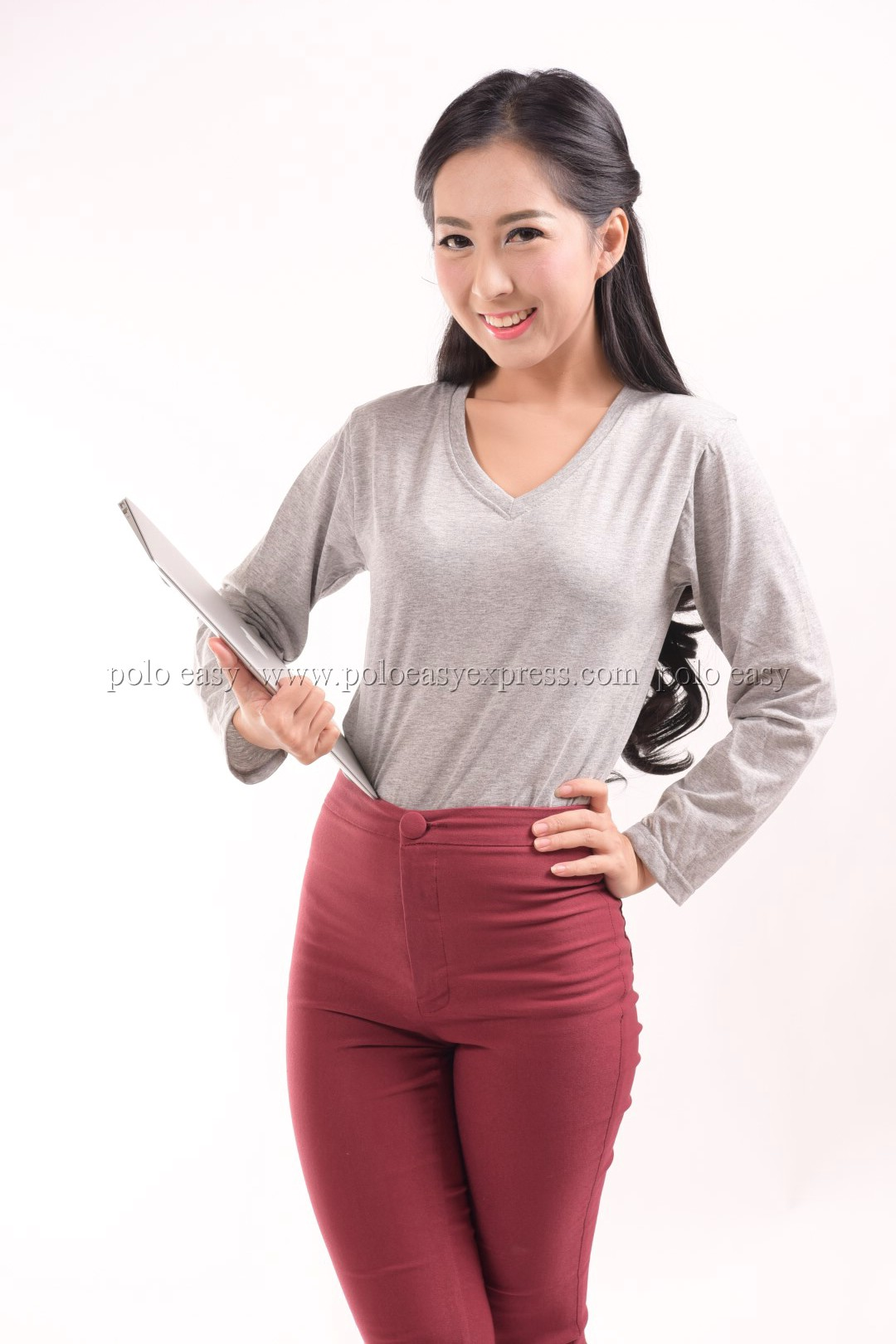 เสื้อยืด สีเทาท็อปดาย คอวี แขนยาว Size L