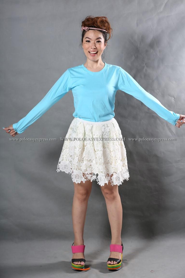 เสื้อยืด สีฟ้าอ่อน คอกลม แขนยาว Size M สำเนา