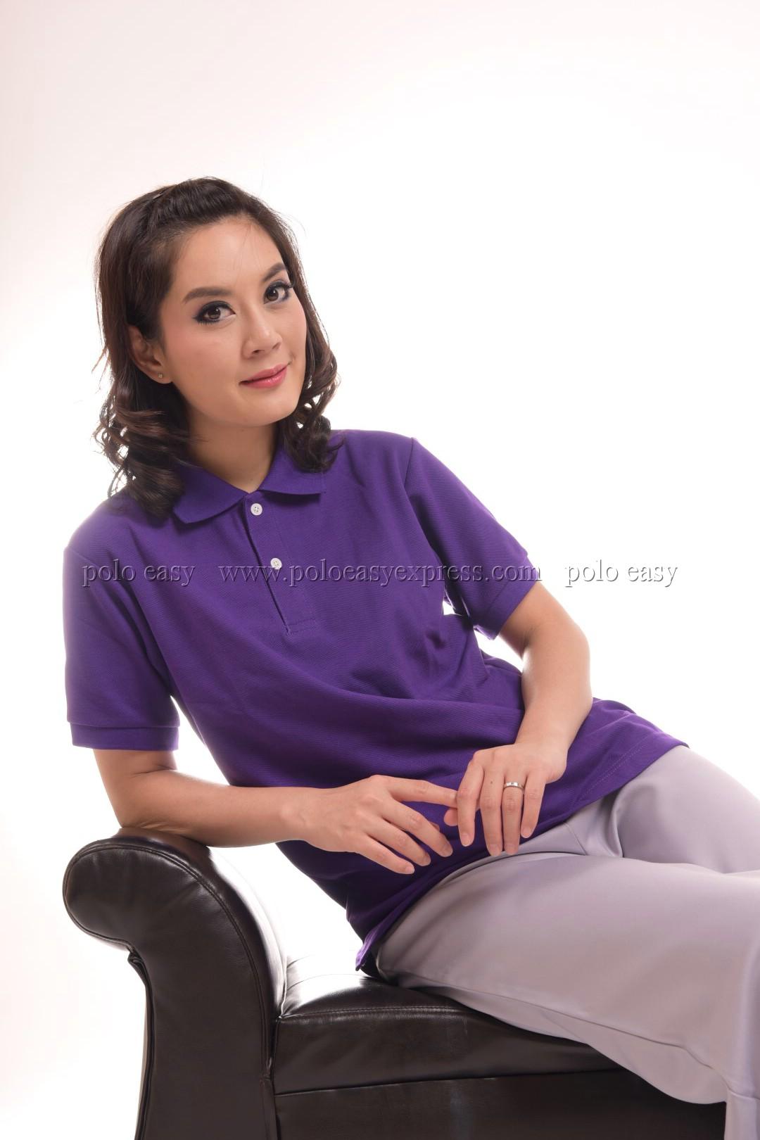 เสื้อโปโล สีม่วง TK Premium แขนสั้น ทรงเว้า (หญิง) Size XL