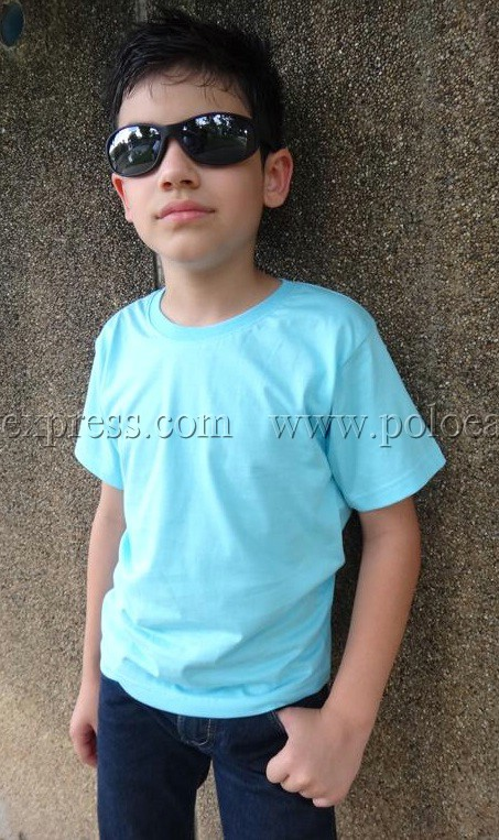 เสื้อยืดเด็ก สีฟ้าอ่อน คอกลม แขนสั้น Size L