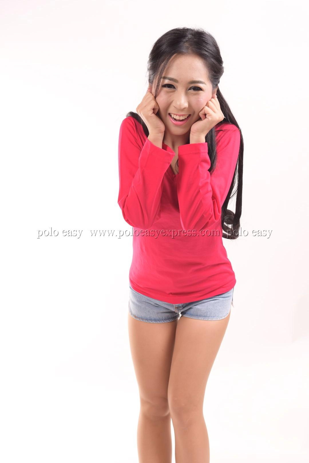 เสื้อยืด สีชมพูบานเย็น คอวี แขนยาว Size XL สำเนา