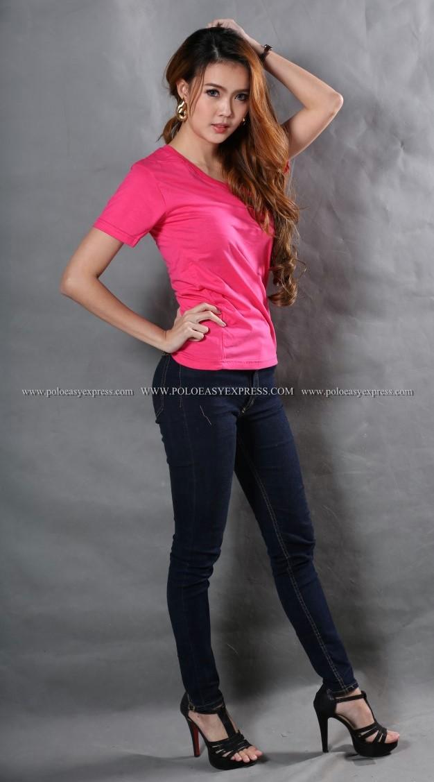 L เสื้อยืด สีชมพู Pinky คอวี แขนสั้น Size L