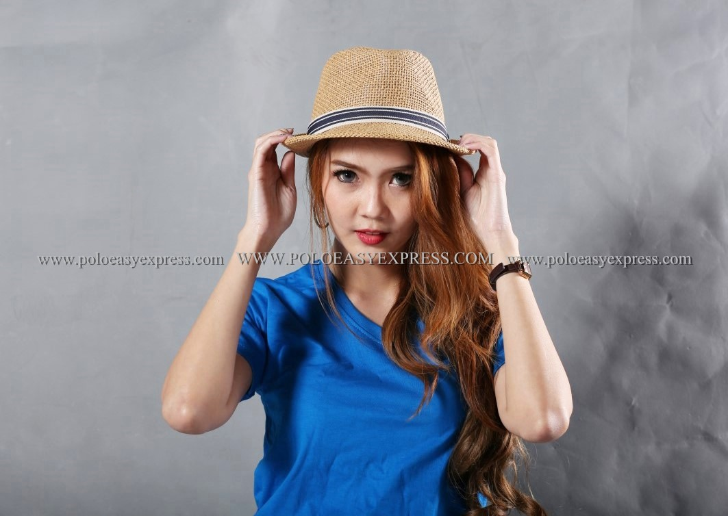 L เสื้อยืด สีฟ้าทะเล คอวี แขนสั้น Size L