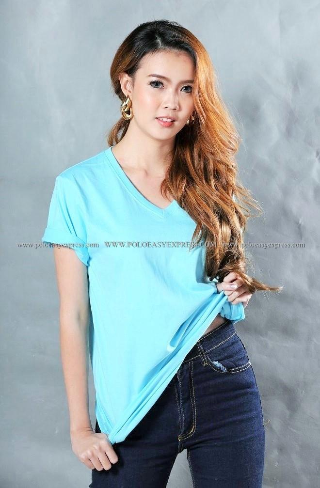 L เสื้อยืด สีฟ้าอ่อน คอวี แขนสั้น Size L
