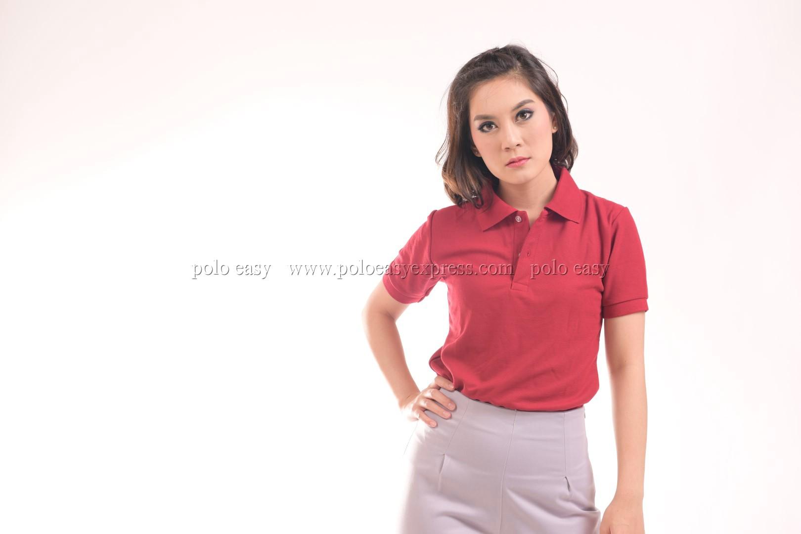 เสื้อโปโล สีเลือดหมู TK Premium แขนสั้น ทรงเว้า (หญิง) Size 2XL