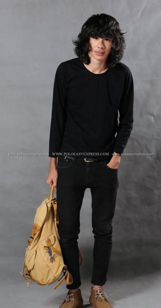 เสื้อยืด สีดำ คอกลม แขนยาว Size XL