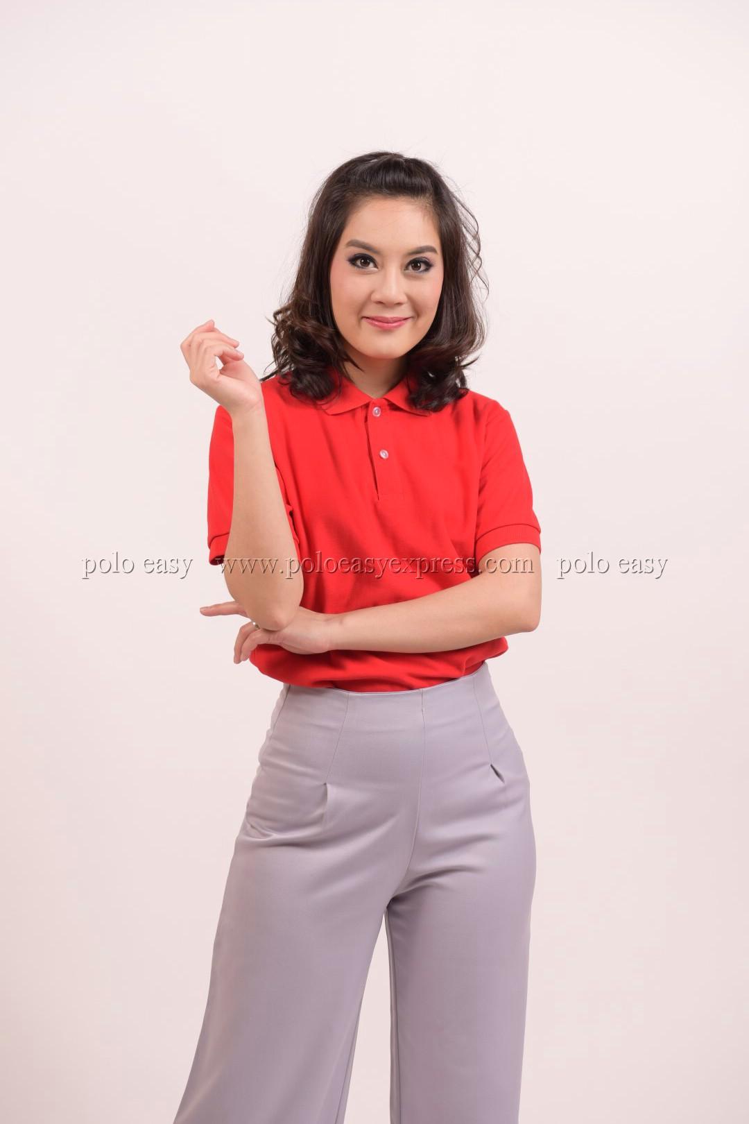 เสื้อโปโล สีแดง TK Premium แขนสั้น ทรงเว้า (หญิง) Size L