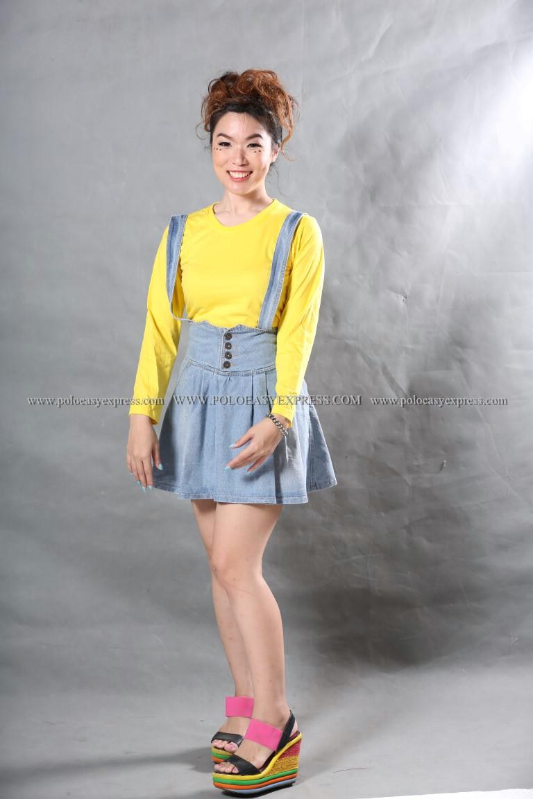 เสื้อยืด สีเหลือง คอกลม แขนยาว Size S