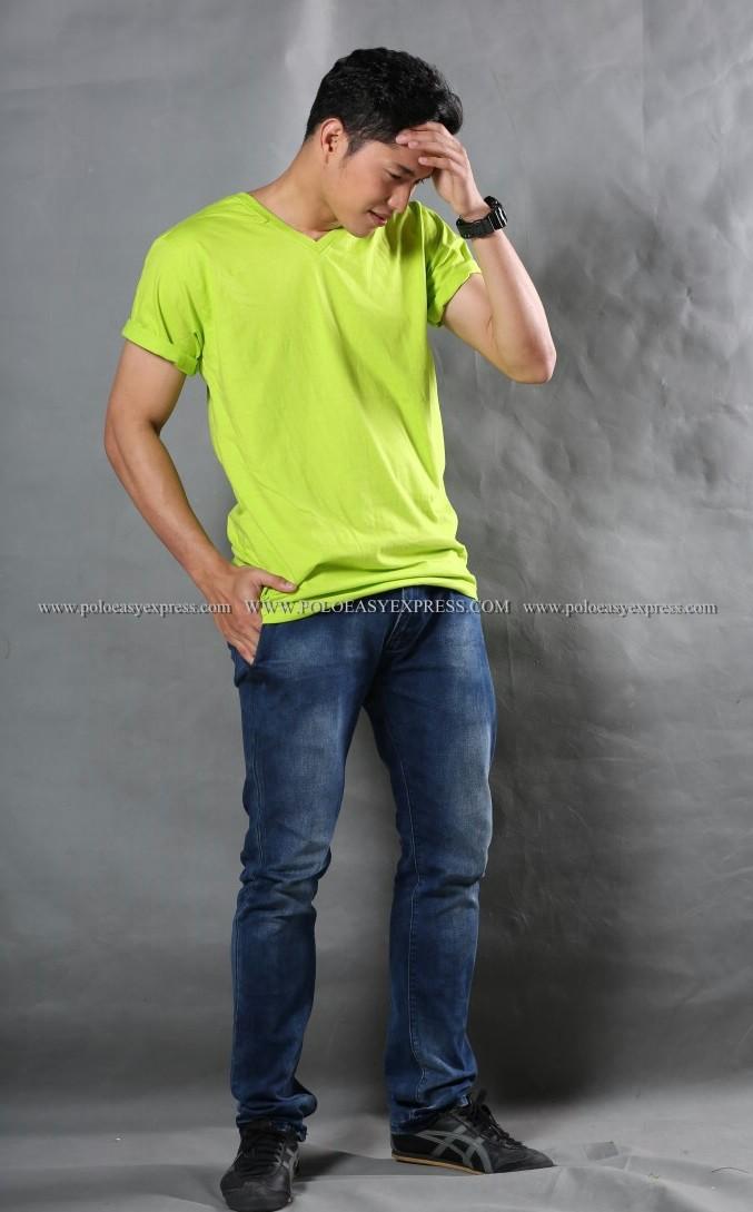 2XL เสื้อยืด สีเขียวมะนาว คอวี แขนสั้น Size 2XL