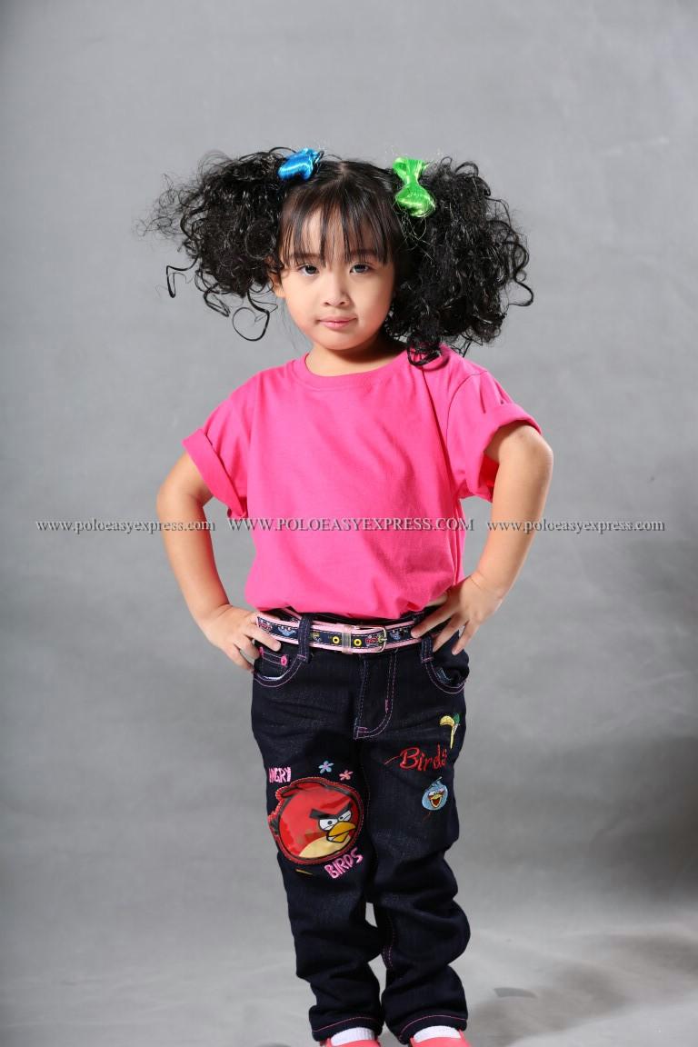 เสื้อยืดเด็ก สีชมพู Pinky คอกลม แขนสั้น Size 2XL