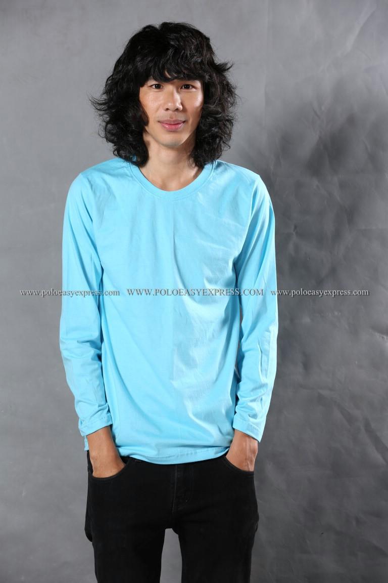 เสื้อยืด สีฟ้าอ่อน คอกลม แขนยาว Size 2XL