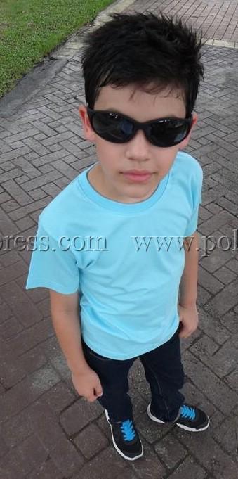 เสื้อยืดเด็ก สีฟ้าอ่อน คอกลม แขนสั้น Size XL