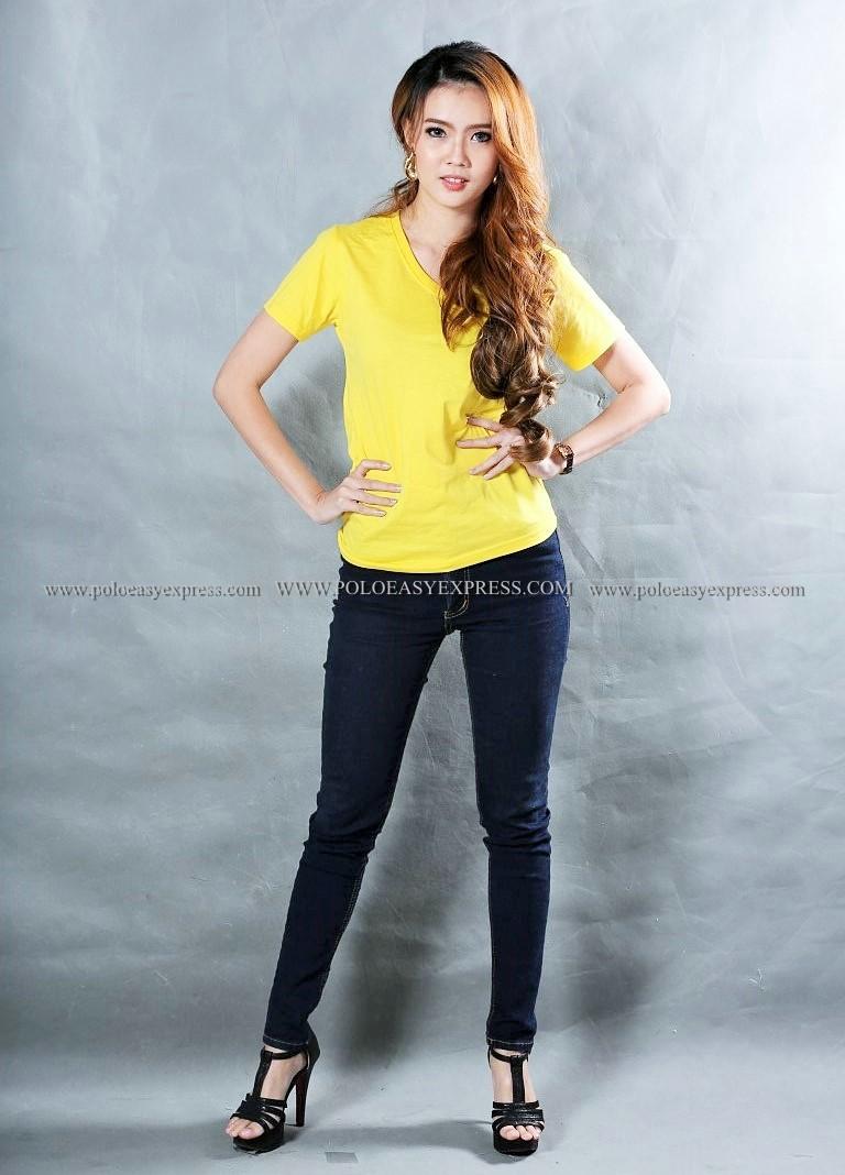 M เสื้อยืด สีเหลือง คอวี แขนสั้น Size M