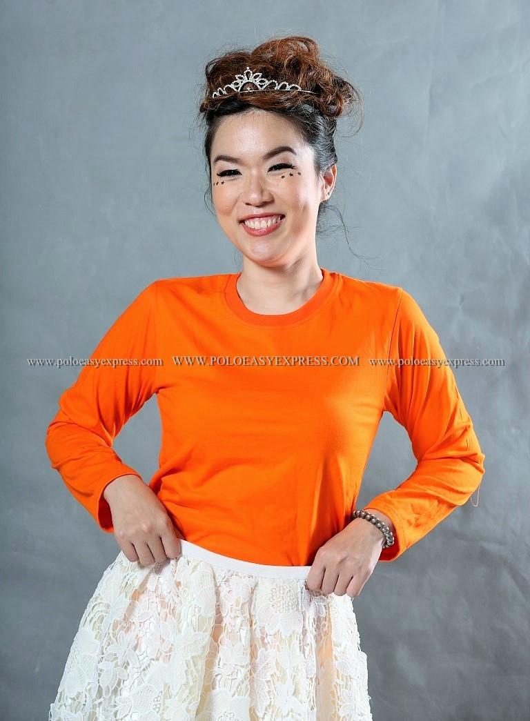 เสื้อยืด สีส้ม คอกลม แขนยาว Size M