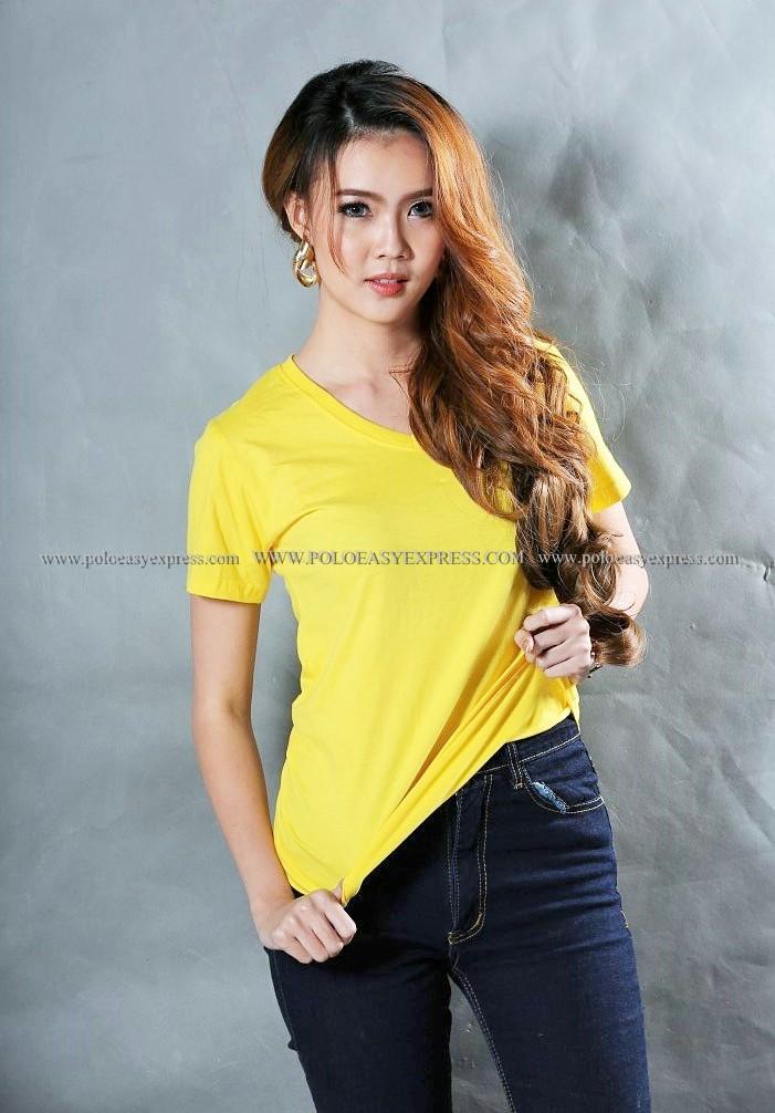 L เสื้อยืด สีเหลือง คอวี แขนสั้น Size L