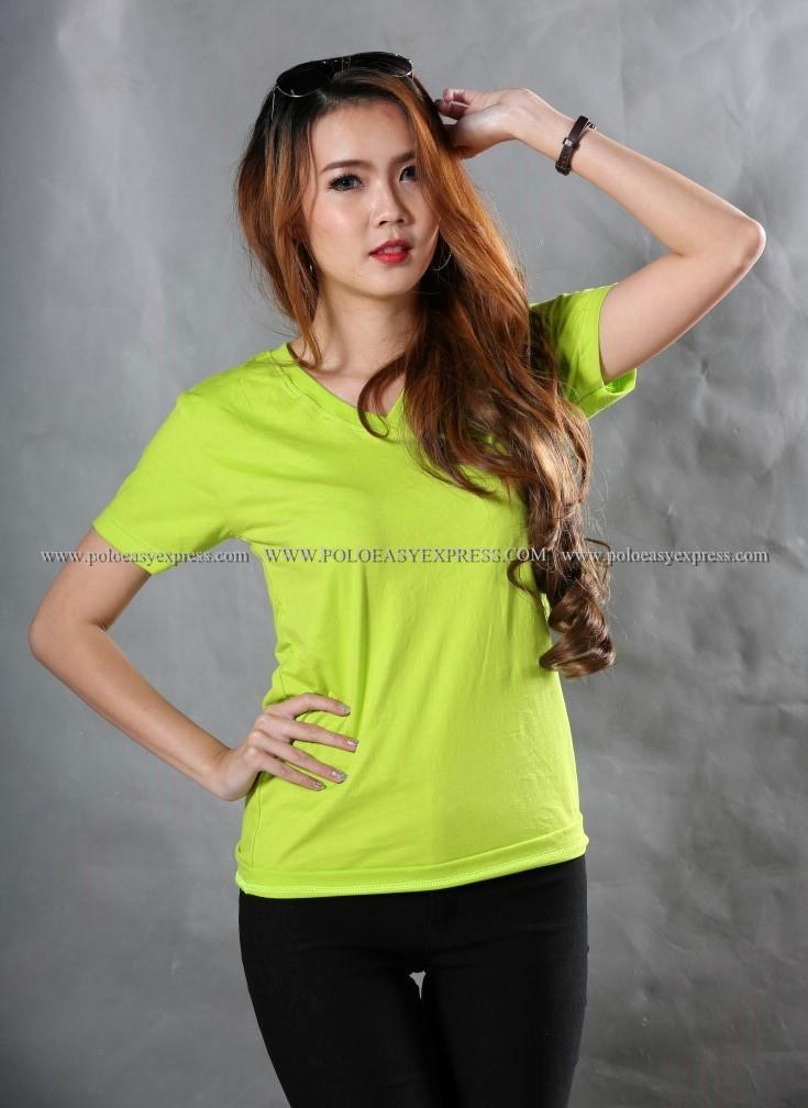 L เสื้อยืด สีเขียวมะนาว คอวี แขนสั้น Size L