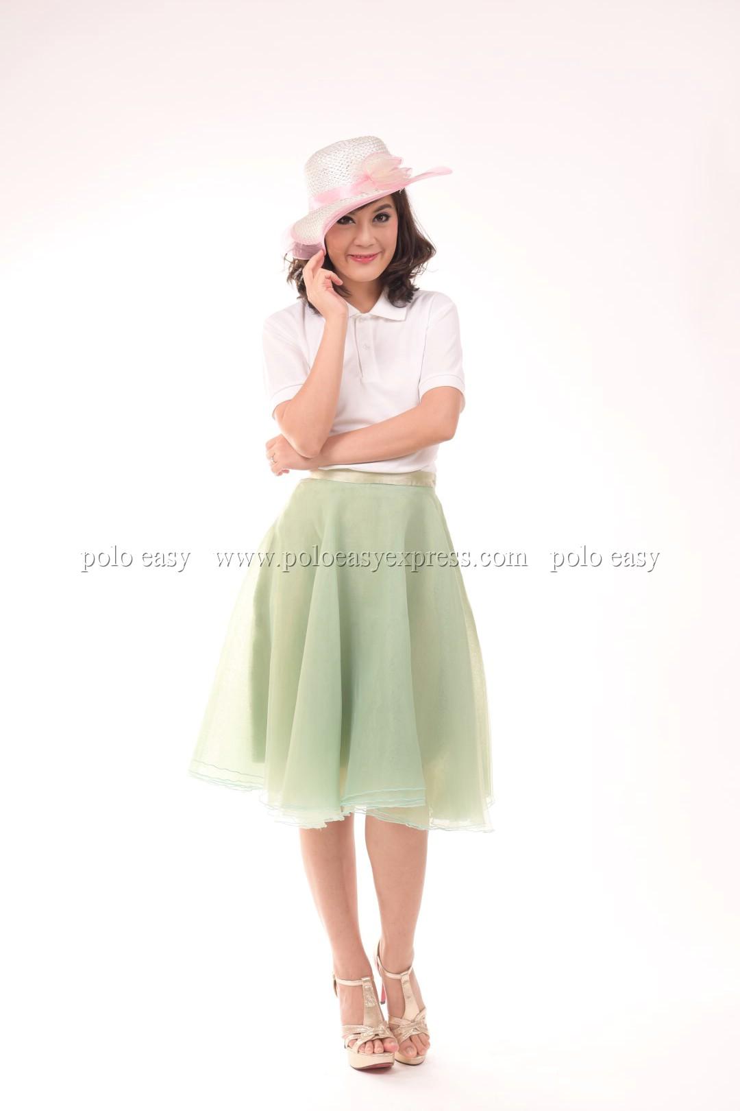 เสื้อโปโล สีขาว TK Premium แขนสั้น ทรงเว้า (หญิง) Size M