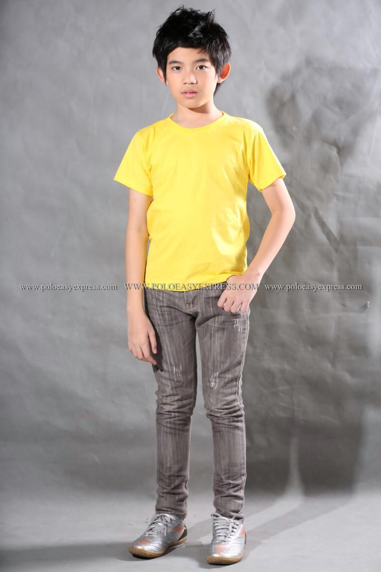 เสื้อยืดเด็ก สีเหลือง คอกลม แขนสั้น Size M