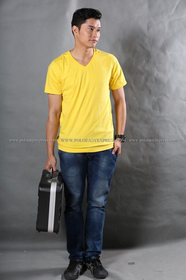 2XL เสื้อยืด สีเหลือง คอวี แขนสั้น Size 2XL