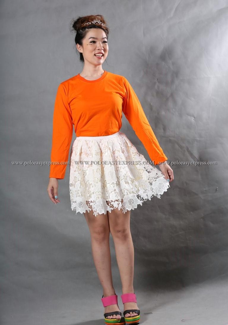 เสื้อยืด สีส้ม คอกลม แขนยาว Size L