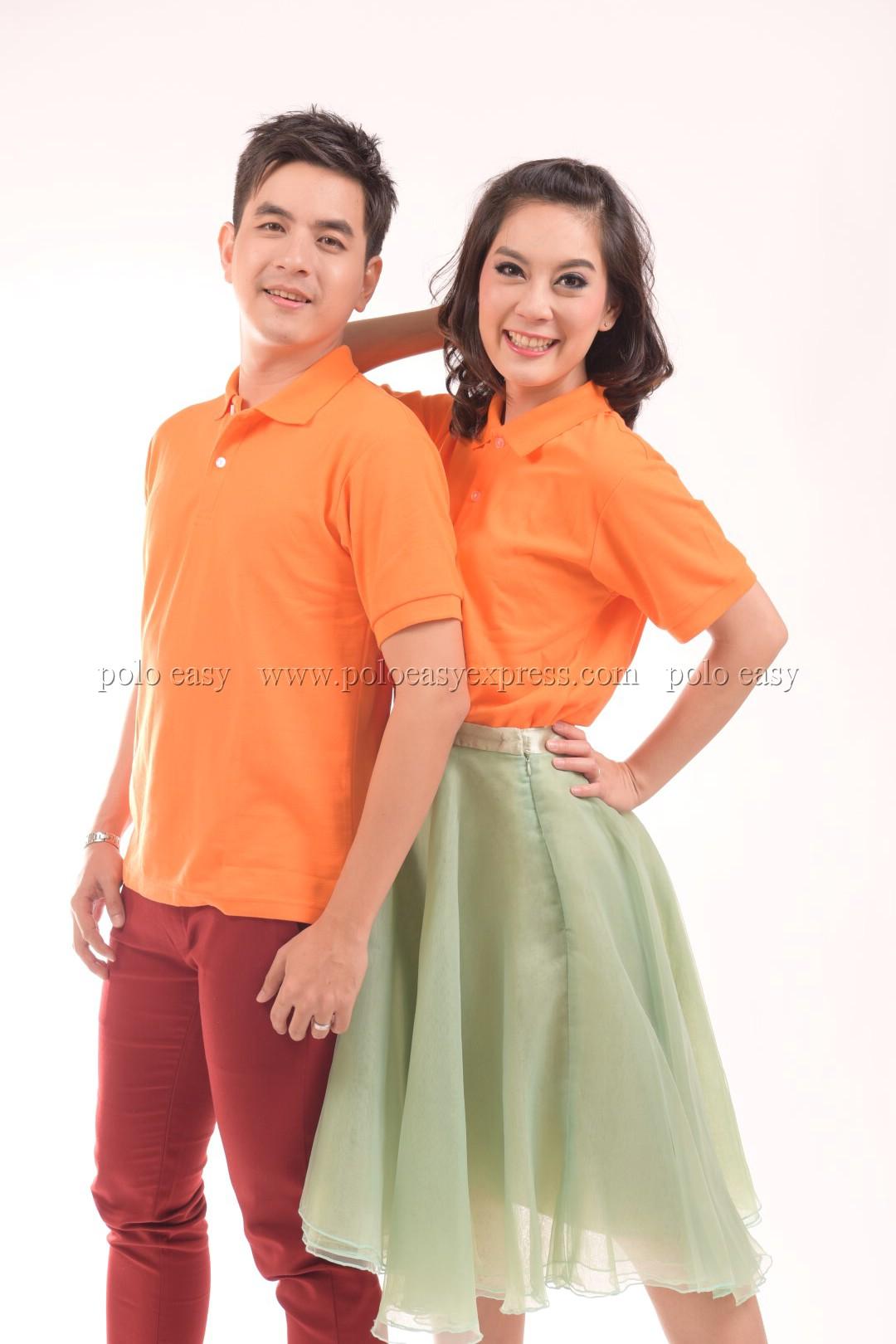 เสื้อโปโล สีส้ม TK Premium แขนสั้น ทรงตรง Size 4XL