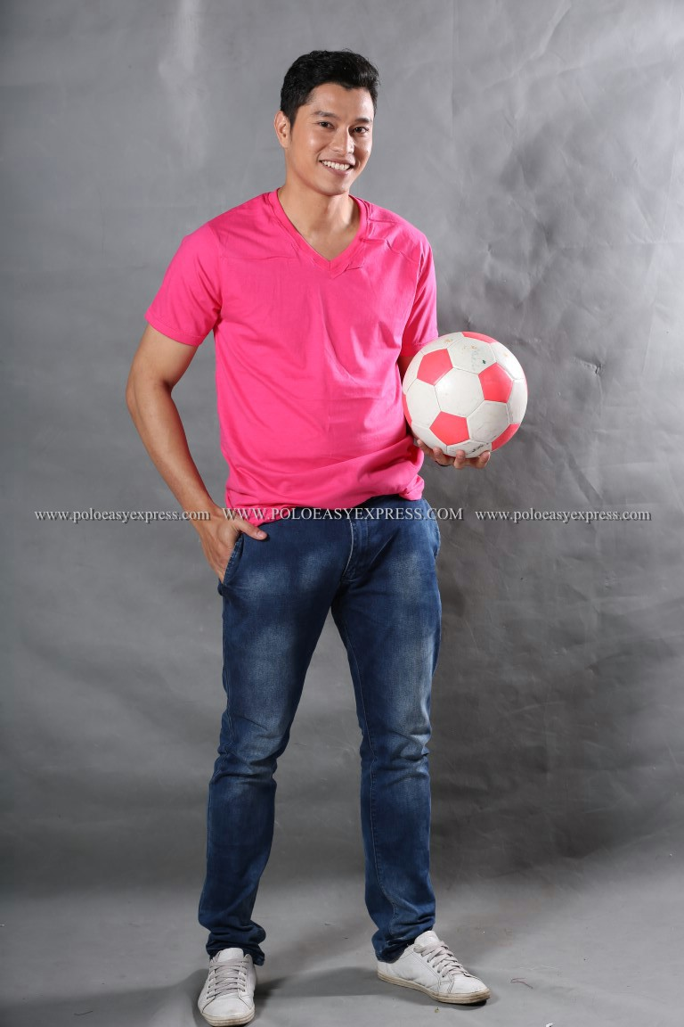 2XL เสื้อยืด สีชมพู Pinky คอวี แขนสั้น Size 2XL