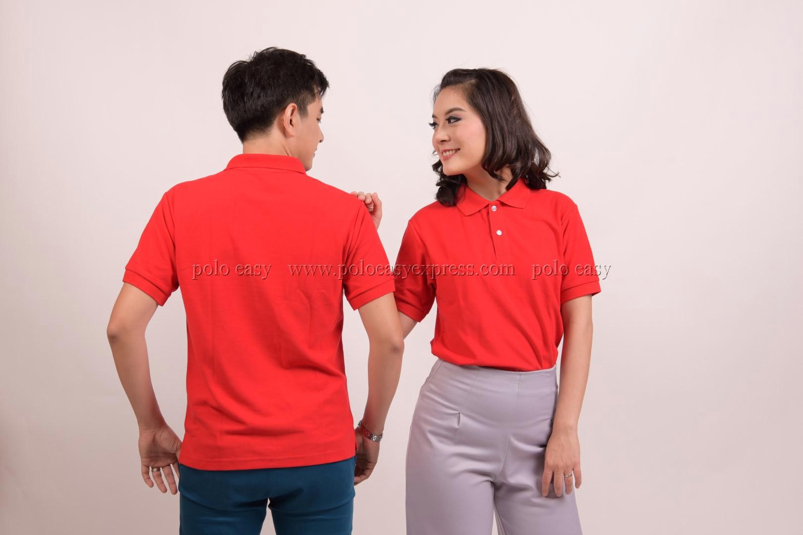 เสื้อโปโล สีแดง TK Premium แขนสั้น ทรงตรง Size 4XL