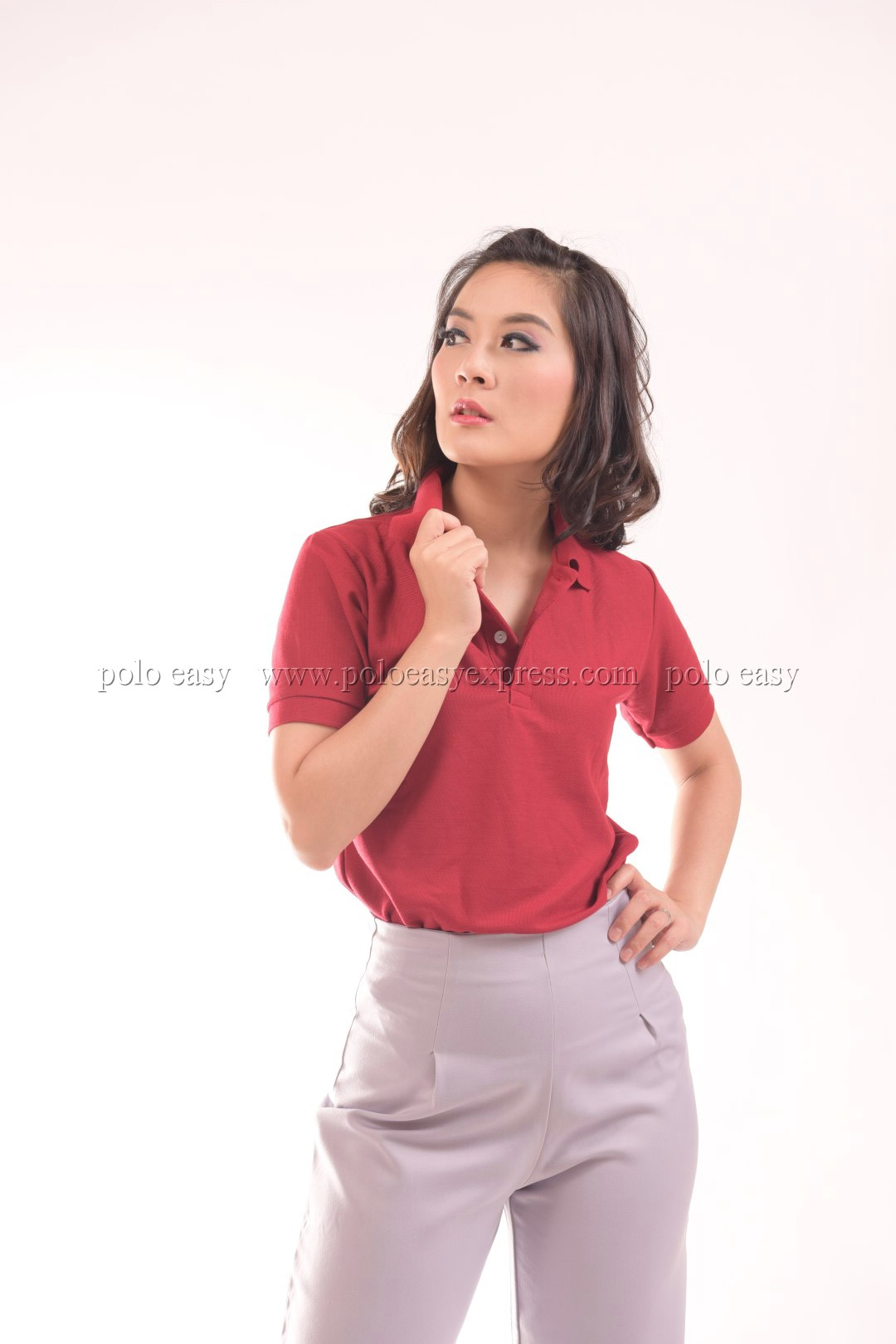 เสื้อโปโล สีเลือดหมู TK Premium แขนสั้น ทรงเว้า (หญิง) Size L